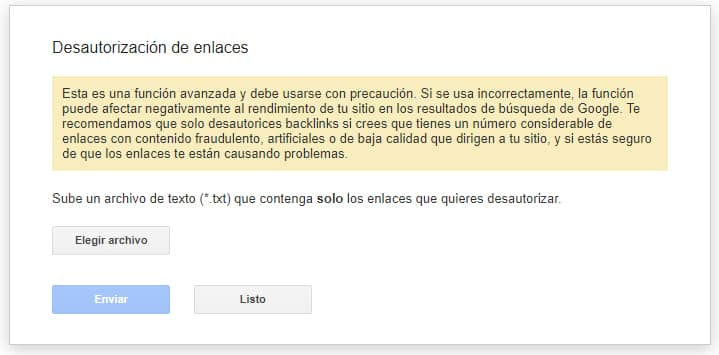desautorizacion enlaces spam score